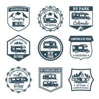 Emblemi del veicolo ricreativo vettore