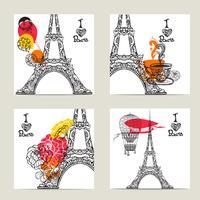 Set di carte di Parigi vettore