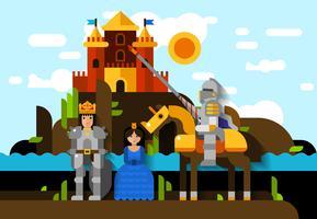 Poster colorato cavaliere vettore