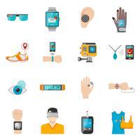 Set di icone di tecnologia indossabile vettore