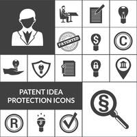 Icone di protezione idea brevetto nero vettore