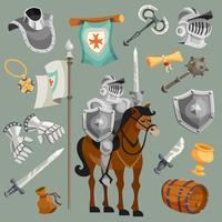 Cavalieri Cartoon Set vettore