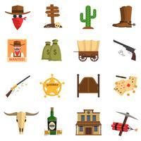 Set di icone del cowboy vettore