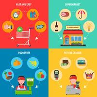 Set di concetto del supermercato vettore