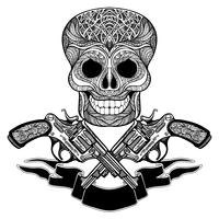 Pistole incrociate con ornamenti nastro e cranio