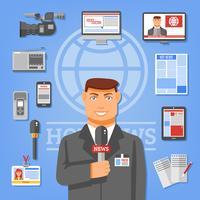 Illustrazione del concetto di giornalista vettore