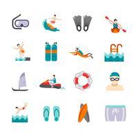 Set di icone di nuoto vettore