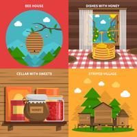 Set di icone di concetto di miele vettore
