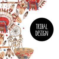 Composizione ornamentale degli oggetti simbolici nativi americani vettore