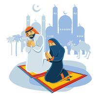 Pregare il concetto musulmano vettore