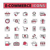 Set di icone di linea di e-commerce vettore