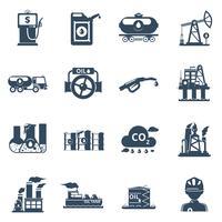 Set di icone di industria petrolifera vettore