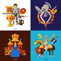 Set di 2x2 immagini del cavaliere vettore
