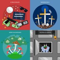 Set di icone di concetto di droga