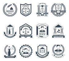 Set di logo bianco avvocato nero vettore