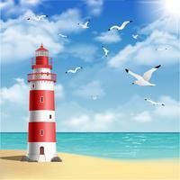 Faro sulla spiaggia vettore