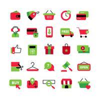 Set di icone di e-commerce e dello shopping vettore