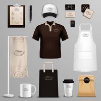 Set di icone di identità aziendale ristorante café vettore