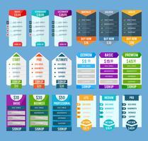 Set di modelli di tabella dei prezzi