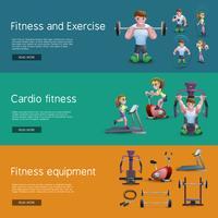 Set di tre banner di fitness vettore