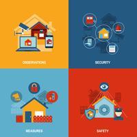 Sicurezza domestica 4 icone piane quadrate