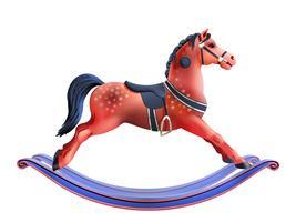 Cavallo a dondolo realistico vettore