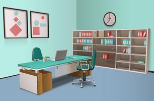 Realistico Office Interior Big Boss vettore