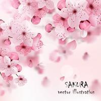 Stampa Cherry Sakura rosa vettore