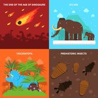 Set di icone di dinosauri vettore