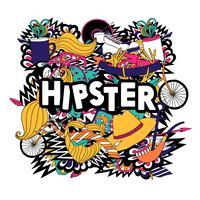 Manifesto piano di composizione di simboli di stile di vita hipster