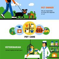 Bandiere veterinarie con animali domestici e veterinari vettore