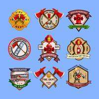 Collezione di etichette emblemi vigili del fuoco