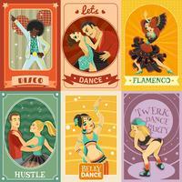 Poster di composizione di icone piane di danza vintage