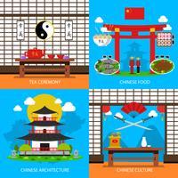 Set di icone cinesi di concetto vettore