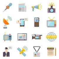 Set di icone di mass media vettore