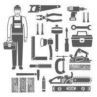 Set di icone di sagome nere di strumenti di carpenteria vettore