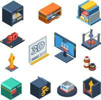 Collezione di icone isometriche di stampa 3D vettore