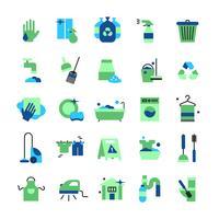 Set di icone di colore piatto di pulizia