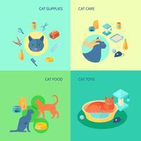 Composizione quadrata delle icone piane del gatto 4