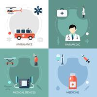 Set di icone di paramedico di emergenza