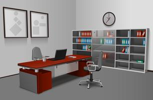 Interno ufficio realistico vettore