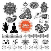 Insieme di elementi di design di India disegnata a mano vettore