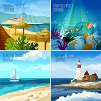 Illustrazioni di vista sul mare impostate vettore