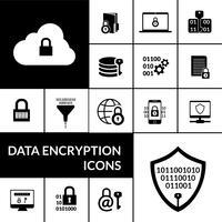 Banner nero di composizione icone di crittografia dei dati vettore