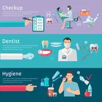 Striscioni orizzontali per la cura dei denti vettore