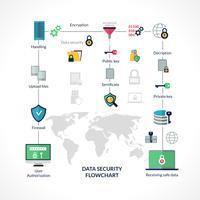 Diagramma di flusso della sicurezza dei dati vettore