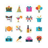 Set di icone di colore del partito vettore