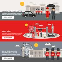 Set di bandiere orizzontali di cultura inglese 3 vettore