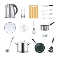 Set di icone di utensili da cucina realistico vettore