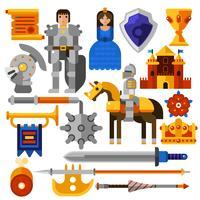 Set di icone piatte cavaliere vettore